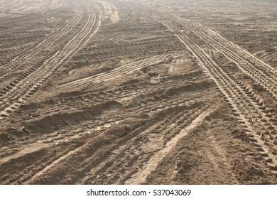Footprint on soil and mud