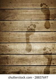 footprint on wood plank