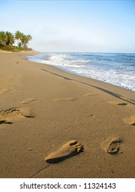 Footprint in the sand at a Caribbean beach.