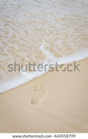 Footprint Sand Ocean Beach Surf Water Stock Photo (Edit Now