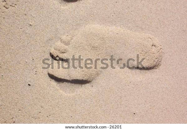 Footprint in the sand on the beach.