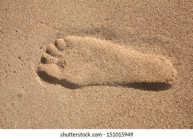 Footprint in the sand.  The South Coast of South Africa is an ideal holiday destination.