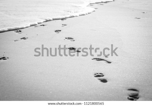 Footprints disappearing into the ocean