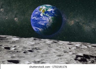 Footprints as an evidence of people being there or great forgery.The Earth as Seen from the Surface of the Moon - Elements of this Image Furnished by NASA