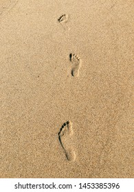 Footprints in the golden sand left by a man walking along the seashore.
