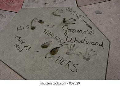 Footprints and handprints of Paul Newman and Joanne Woodward from 1963 at Graumann's Chinese Theater in Hollywood.