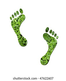 Footprints made up of green leaves to represent environmetal issues or carbon footprint.
