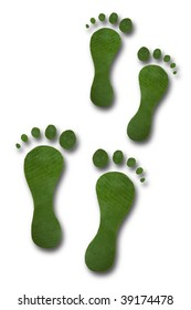 Footprints made of tropical leaves