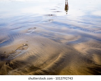 Footprints on Beach Black and Golden Sand with Reflection of Sky and Person