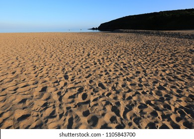 Footprints on the Beach, Freshwater East, Pembrokeshire, Wales