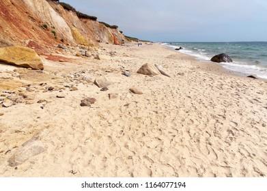 Footprints on beach sand of Moshup Beach in the Aquinnah region of Martha's Vineyard in Martha's Vineyard island in Massachusetts.