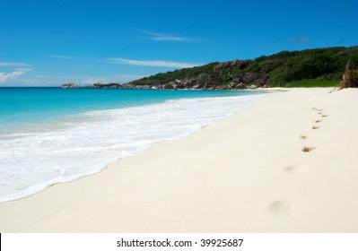 Footprints on a beautiful tropical beach
