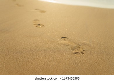 footprints on golden sand. Beach Vacation