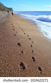 Footprints on the pebble beach in Branscombe, Devon