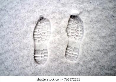 Footprints on snow.