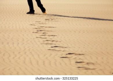 Footprints on White Sand Dunes, Mui Ne, Vietnam