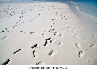 Footprints on a wonderful pristine beach.