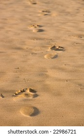 Footprints in the sand leading forward into the distance