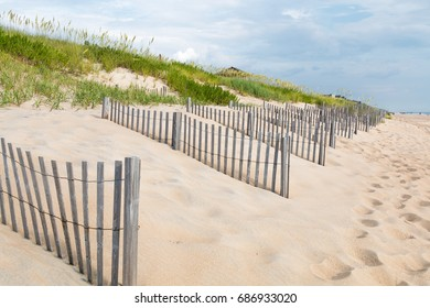 Footprints in the sand near sand fences, dunes in beach grass in Nags Head, North Carolina.