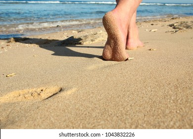 a footprints in the sand on the beach
