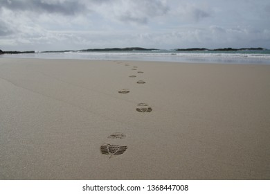 Footprints in the sand on Isle of Coll