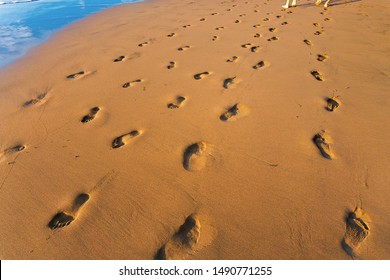 footprints in the sand with people walking