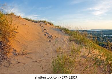 Footprints in the sand at Sleeping Bear Dunes National Lakeshore on the shores of Lake Michigan,Michigan State,USA.