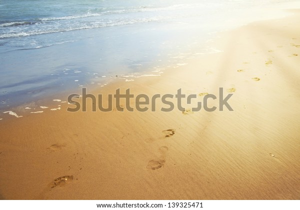 Footprints in the sand with sun light.