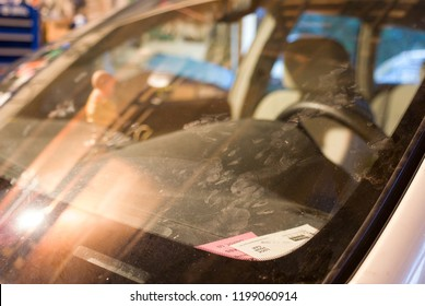 Footprints of a Skunk or Racoon on the Windshield of a Car in a Messy Garage