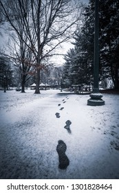 Footprints in the snow lead to Elm Street Park in the Chevy Chase neighborhood of Bethesda, Maryland in the wintertime.