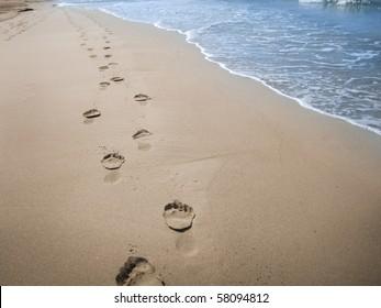 Footprints in wet sand of beach, Spain