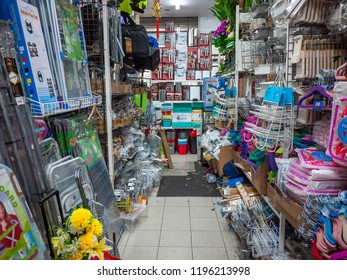 Footscray, VIC/Australia-August 19th 2018: lane between shelves in Melbourne's homewares shop packed with products