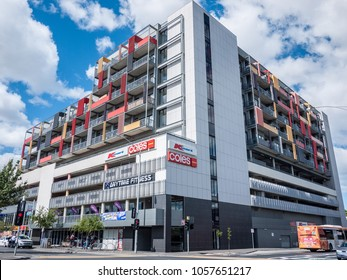 Footscray, VIC/Australia-March 30th 2018: Building of Footscray plaza.The building  comprising residential apartments, office floor space, retail and multilevel car parking.
