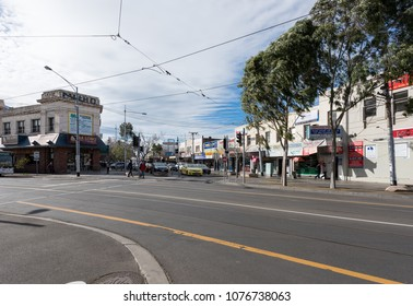 Footscray, Victoria, Australia- April 25, 2018: View of Footscray Market and Melbourne's suburban street in a sunny day..