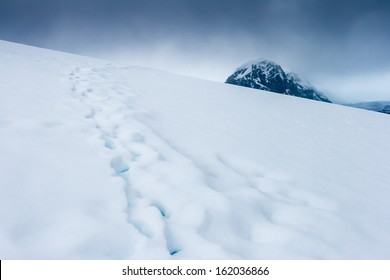 Footsteps high upon the mountainous terrain of Useful Island, Antarctica