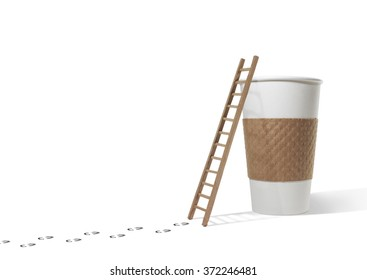 Footsteps to ladder and coffee cup