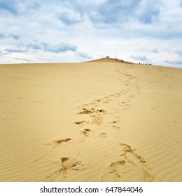 Footsteps leading to the top of Dune du Pilat (Dune of Pilat), the highest sand dune in Europe located in the Arcachon Bay area, France.