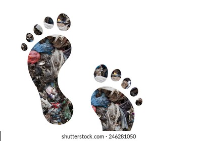 Footsteps and municipal waste as carbon footprint concept