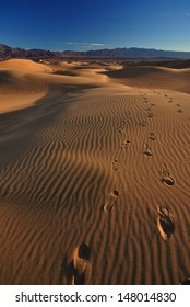 Footsteps on Mesquite Sand Dunes, Death Valley National Park