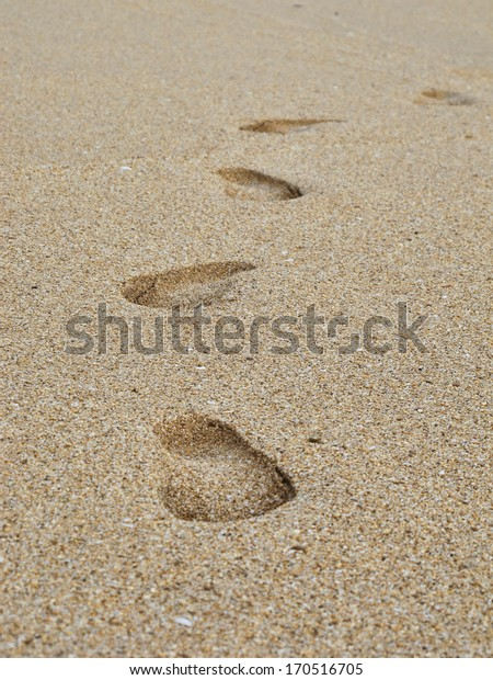 footsteps in the sand; beach walk
