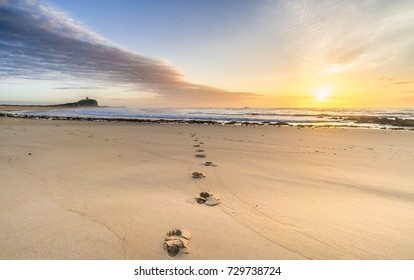 Footsteps in the sand at sunrise at Nobby's Beach, Newcastle, Australia