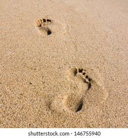footsteps at sunset time on the beach