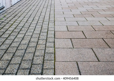 Footway street pavement background with combined paving
