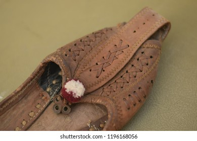 footwear traditional  indian rajasthani ethnic Shoe Style Jutti brown colored