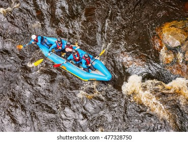 FORBACH. BLACK FOREST.GERMANY-JUNE 23,2015:Rafting on the river Murg .