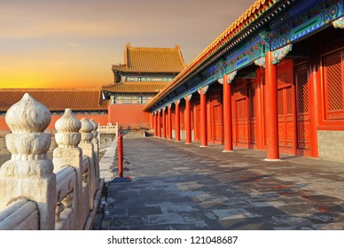 Forbidden city in Beijing during sunset