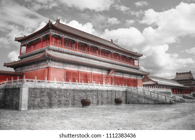 The Forbidden City is the largest palace complex in the world. black and red and white photo