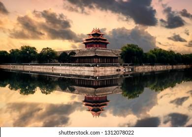 Forbidden City Turret Reflection Sunset