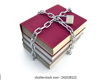 Forbidden knowledge 2 -  A chain, locked with a padlock, prevents access to books, -- on white background.