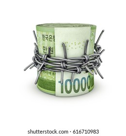 Forbidden money South Korean won / 3D illustration of rolled up South Korean ten thousand won notes tied with barbed wire